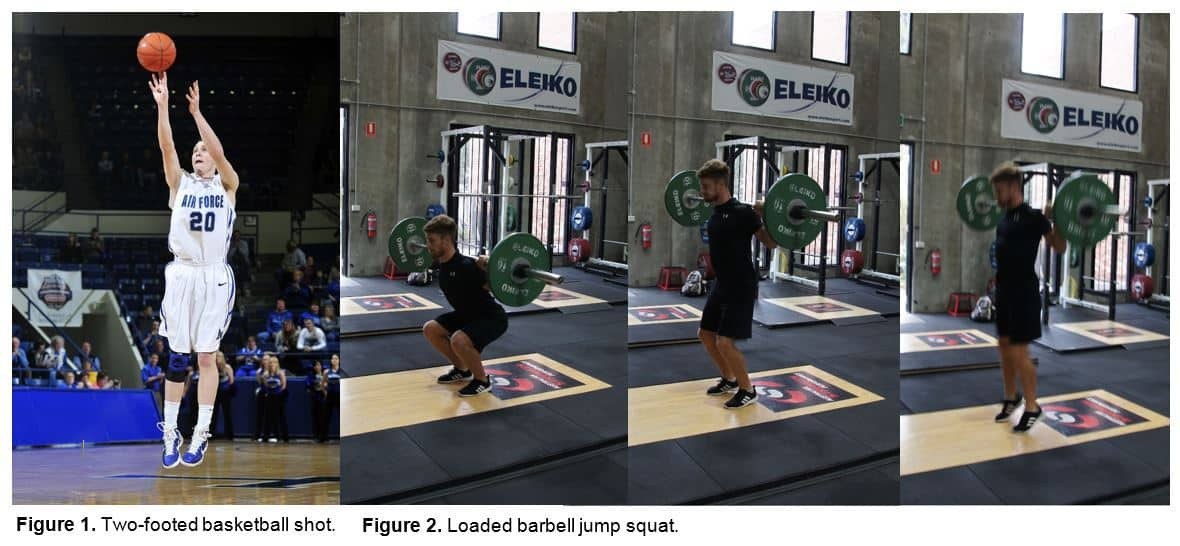 Figures 1 and 2 - Basketball shot and barbell jump squat